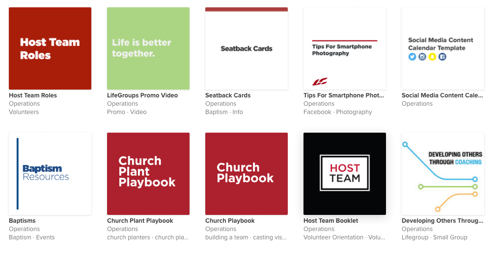 List of Life Church Resources