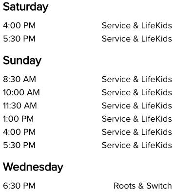 List of Life Church Broken Arrow, OK Service Times