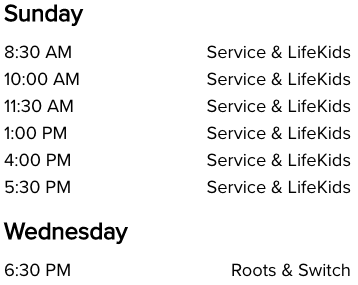 Life Church Hendersonville, TN Church Service Times