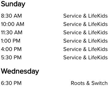 Life Church Mustang, OK Church Service Times