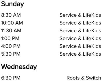Life Church South Broken Arrow, OK Church Service Times