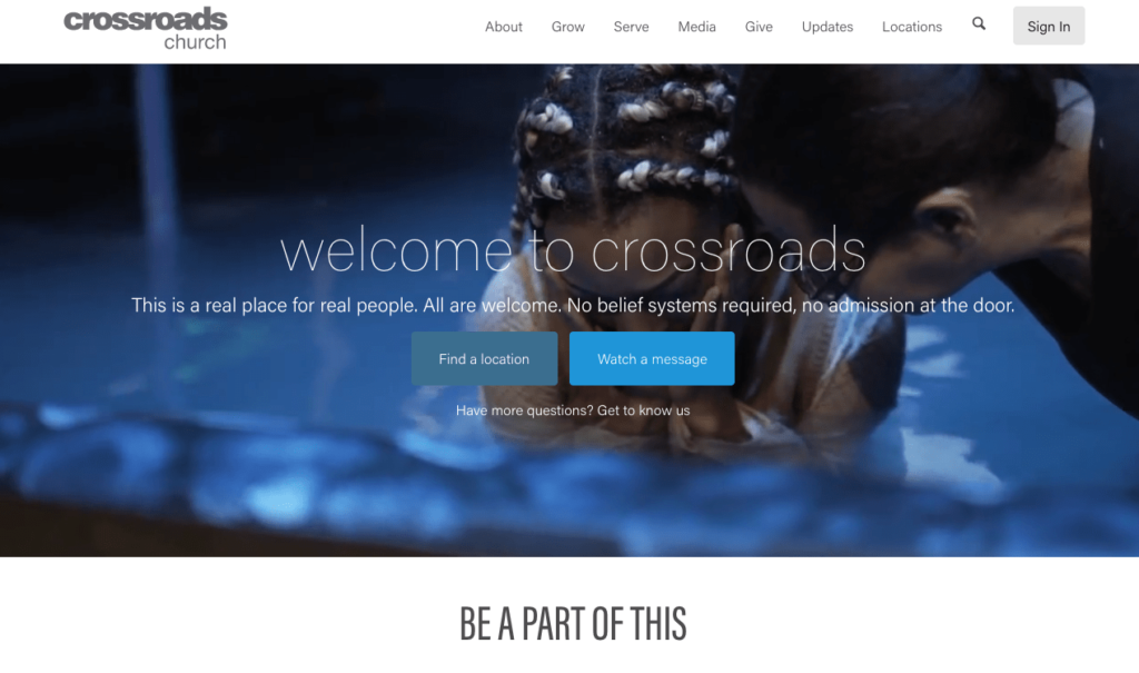 Crossroads Church Front Page Screen Shot. Number one fastest growing church.