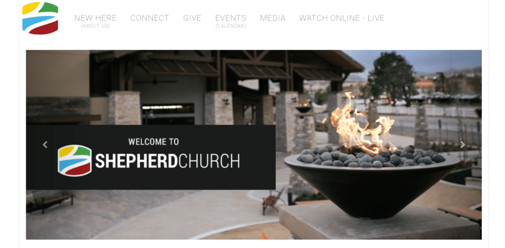 Shepherd Church website homepage screenshot. The second fastest growing church in America.