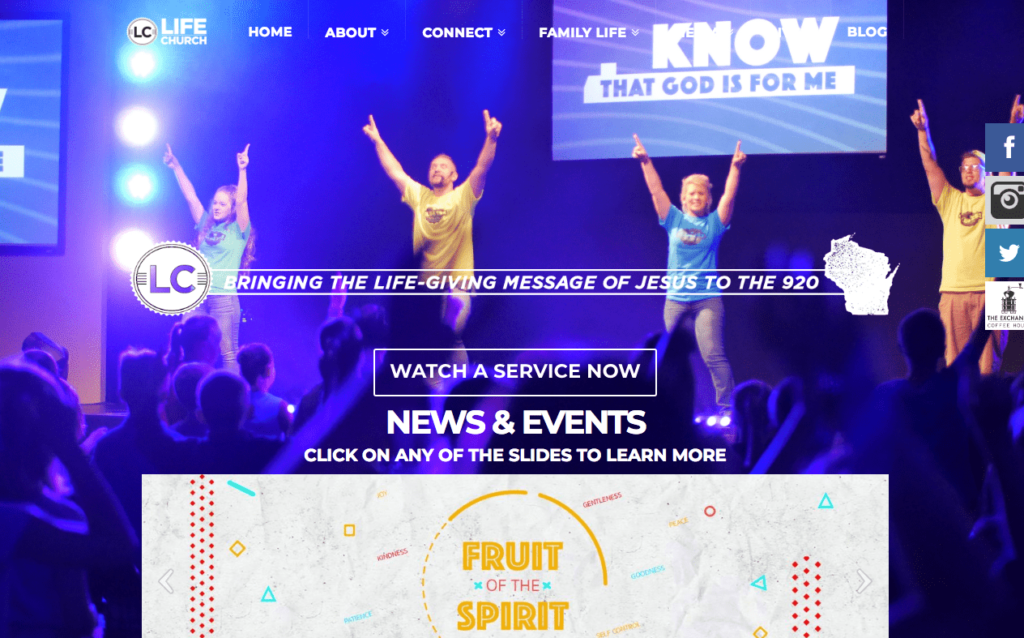 Screenshot of the homepage of Life Church. Seventh fastest growing church in the United States.