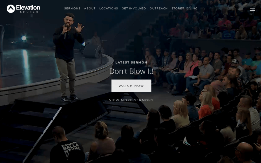 Screenshot of homepage of Elevation Church. Eighth fastest growing church in United States.