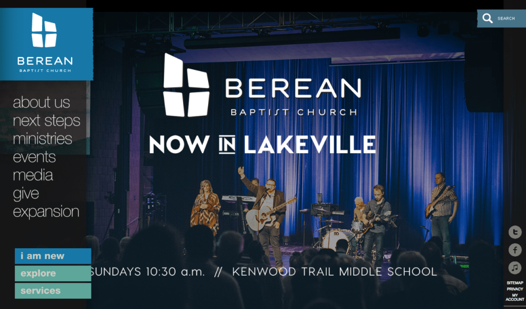 Homepage of website for Berean Baptist Church. Tenth on the list of fastest growing churches in the United States.